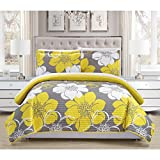 Yellow, Grey and White Polyester with Reversible, 3-Piece Queen Quilt Set and Floral Pattern, Included Cross Scented Candle Tart
