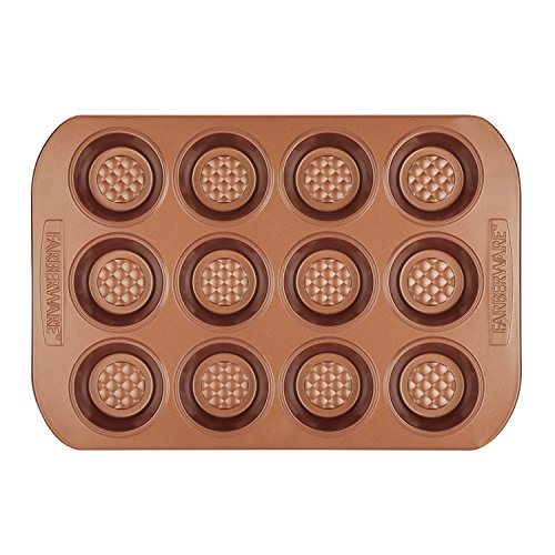 Farberware Colorvive Nonstick Muffin Pan, 12-Cup, Copper