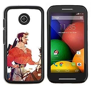 """Be-Star Único Patrón Plástico Duro Fundas Cover Cubre Hard Case Cover Para Motorola Moto E / XT1021 / XT1022 ( Héroe Caballero Vaquero Blanco Rojo"""" )"""