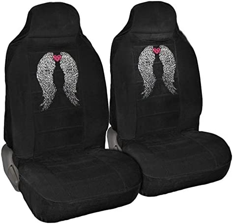 CarsCover Angel Wings with Heart Crystal Diamond Bling Rhinestone Black Car SUV Truck High Back Seat Covers