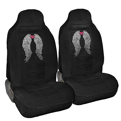 Bling Bling Heart (CarsCover Angel Wings with Heart Crystal Diamond Bling Rhinestone Black Car SUV Truck High Back Seat Covers)