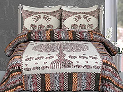 8cb1cc5f0da Buy Ajrakh Block Print Cotton Double Bedsheet with Two Pillow Covers (Size   108x90 Inches) (Floral Grey) Online at Low Prices in India - Amazon.in