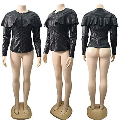 Lovecarnation Women Sexy Short Coat Jacket Zip Up Long Sleeves Ruffle Faux Leather PU Jacket at Women's Coats Shop