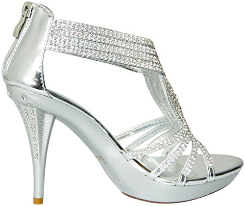 Delicacy Womens Delicacy-07 Dressy Pumps Sandals Silver 2cRNeWD5m