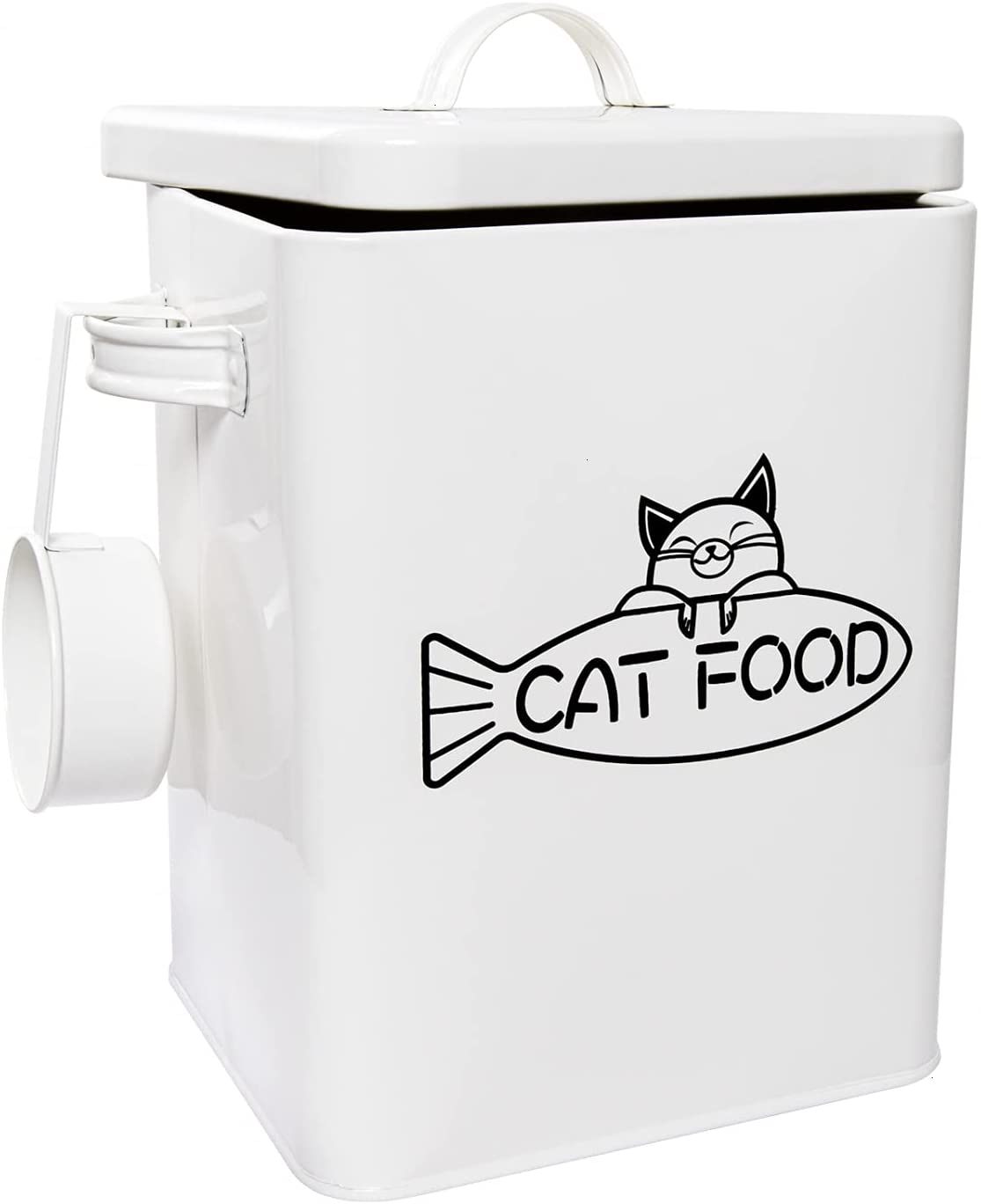 Vumdua Pet Treat and Food Storage Container with Serving Scoop - Farmhouse Cat Food Container with Lid, Airtight Cat Food Storage Container, White