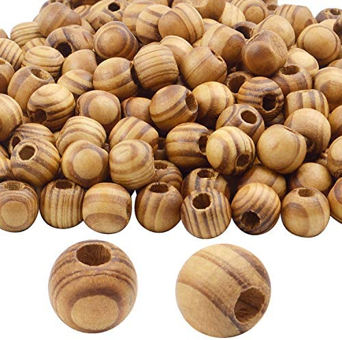 Natural Wooden Beads, 100 Pieces 14mm Diameter Round Loose Spacer Beads Large Hole (4.5mm) Wooden Craft Beads with Beautiful Grain for DIY Handmade Decorations