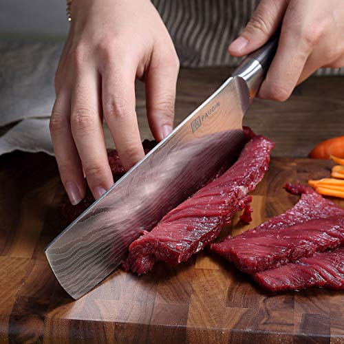 Cleaver Knife - PAUDIN 7 inch Chinese Vegetable Cleaver Kitchen Knife N6 German High Carbon Stainless Steel Meat Cleaver Knife by PAUDIN (Image #2)