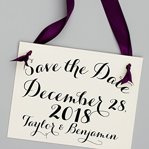 Personalized Save The Date Sign Wedding Announcement Banner Custom With Your Names and Wedding Date ()