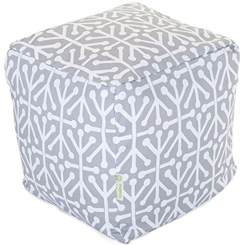 "Majestic Home Goods Aruba Indoor / Outdoor Bean Bag Ottoman Pouf Cube, 17"" x 17"" x 17"" (Gray)"