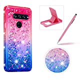 Liquid Clear Case for LG V40 ThinQ,Soft TPU Cover for LG V40 ThinQ,Herzzer Luxury Creative Pink Blue Gradient Color Love Hearts Quicksand Flexible Crystal Case with Diamond Frame