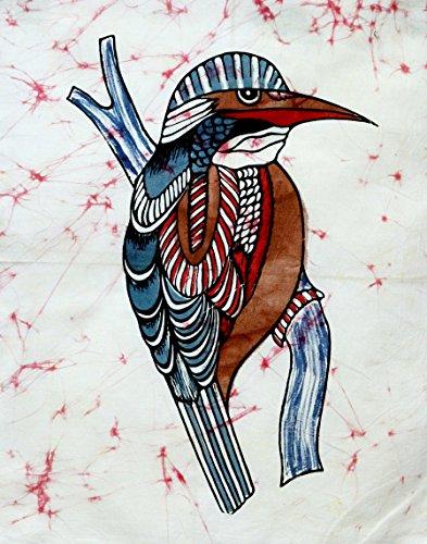 Indian Traditional Ethnic Nightingale Bird Wildlife Batik Abstract Cotton Fabric Wall Hanging (Small)