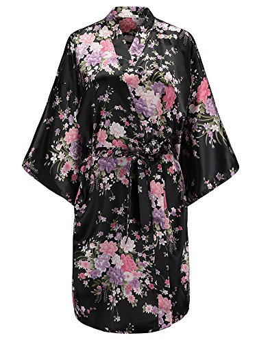 (EPLAZA Women Floral Satin Robe Bridal Dressing Gown Wedding Bride Bridesmaid Kimono Sleepwear (Black))