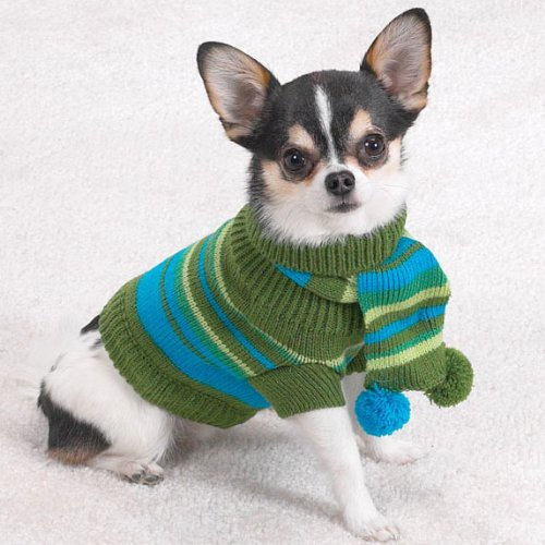 Chilly Day Swtr W/Pom Pom Scarf Xsm Multi-Stripe, My Pet Supplies