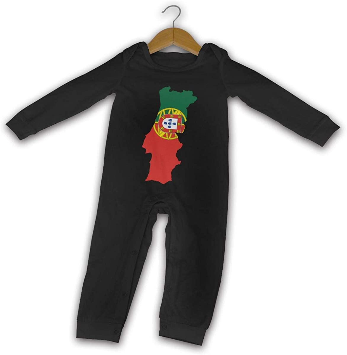 YELTY6F Portugal Map Printed Baby Boys Girls Jumpsuit Long Sleeve Rompers Black