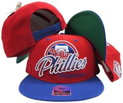 Philadelphia Phillies Red Two Tone Plastic Snapback Adjustable Plastic Snap Back Hat / Cap