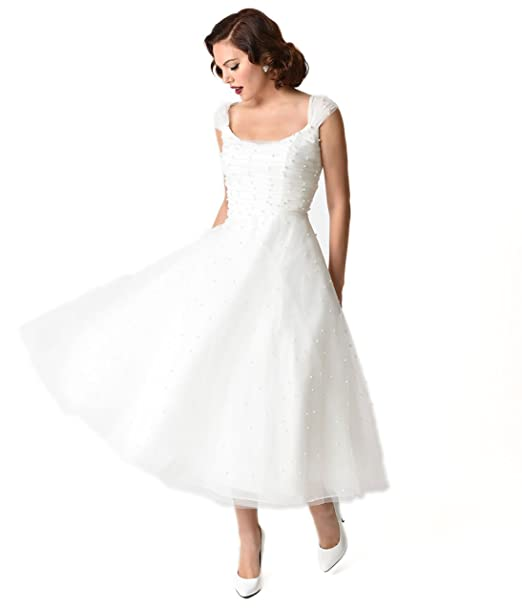 a250f07b7baf Unique Vintage Voodoo Vixen 1950s White Pearl Beaded Cap Sleeve Betsy Bridal  Dress