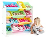 Tot Tutors Kids' Toy Storage Organizer with 12 Plastic Bins, White/Pastel (Pastel Collection)