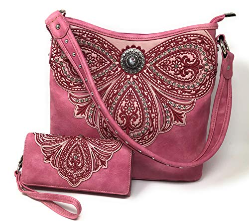 Women's Concealed Carry Hobo Single Strap Purse with Paisley Floral Design with Matching Wallet (Pink) ()