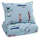 Ashley Furniture Signature Design - McAllen Twin Quilt Set - Set of 2 - Contemporary - Airplanes & Helicopters