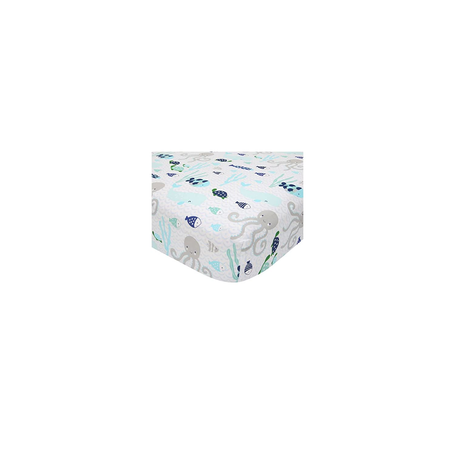 Lambs & Ivy Oceania 100% Cotton Fitted Crib Sheet – White with Blue Nautical/Aquatic Fish and Octopus