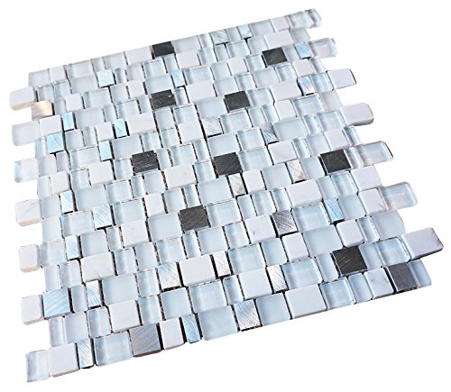 Glossy and Matte White with Aluminum Random Brick Cubes Pattern Glass Mosaic Tiles for Bathroom and Kitchen Walls Kitchen Backsplashes