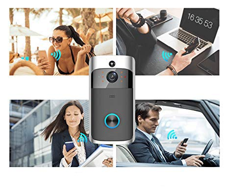 Denshine Videoportero Wifi Timbre Puerta Inal/ámbrico 720P HD Hogar Inteligente Remoto Monitor Interior con Visi/ón Nocturna App para iOS//Android//Windows