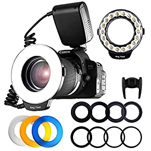 FOSITAN 18 LED Macro Ring Flash light for Nikon Canon Camera DSLR with LCD Display Power Control 8 Adapter Rings 4 Light Diffuser for Nikon Canon and others Hot Shoes DSLR Camera