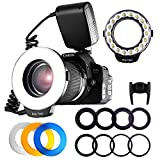 FOSITAN 18 LED Macro Ring Flash light for Nikon Canon Camera DSLR with LCD Display Power Control 8 Adapter Rings 4 Light Diffuser for Nikon Canon and others Hot Shoes DSLR Camera