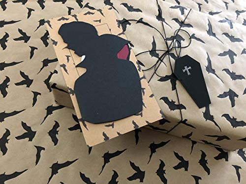 Gothic Vampire Gift Wrap Set - Matching Gift Wrap, Card and Gift Tag - Premium Handmade Flying Bats Wrapping Paper, Handmade Vampire Greeting Card AND Coffin Gift - Card Coffin