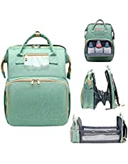 5 in 1 Diaper Bag Backpack with Fodable Crib, Travel Crib Infant Sleeper, Nappy Bag Multifunction Travel Bassinet for Baby and Toddler, Insulated Bottle Warmer Diaper Bag for Dad/Mom (Light Green)