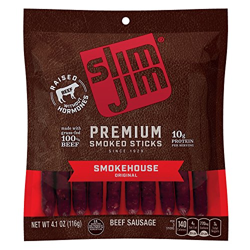 Slim Jim Premium Smoked Sticks, Smokehouse Original Flavor, 4.1 Oz, Pack of ()
