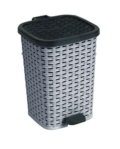 1.6-Gal. Rattan Compact Trash Bin Color: Grey and Black