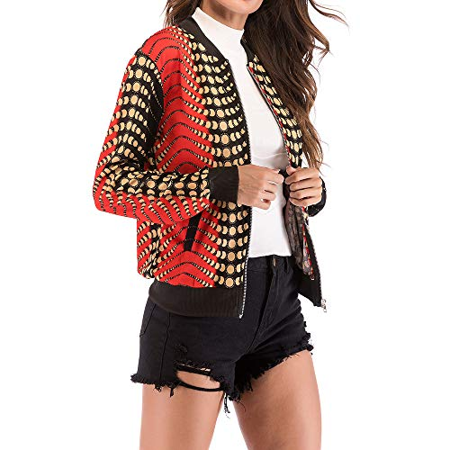 Fashion Baseball Zipper Bird Jacket Coat Print KIMODO Women's Orange Blouse Tops R1dBq1On