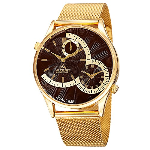 August Steiner Men's AS8168 Gold Dual Time Zone Quartz Watch and Mesh Bracelet (Yellow Gold)