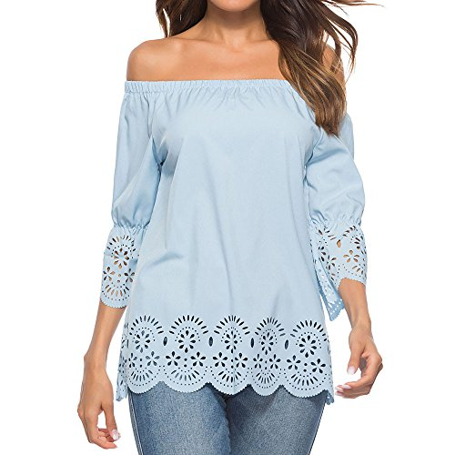 Oasisocean Women's Blouse, Casual Off Shoulder Hole Hollow Out 3/4 Sleeve Lace Hem T-Shirt Tops for $<!--$5.55-->