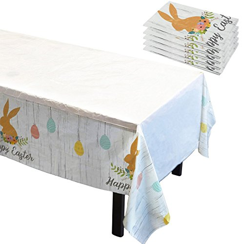 Blue Panda 6 Pack Easter Tablecloths - Disposable Plastic Re