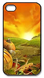 iPhone 4 4s Case, iPhone 4 4s Cases - Thanksgiving Day 1 PC Polycarbonate Hard Case Back Cover for iPhone 4 4s¨CBlack