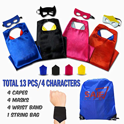 SAIF LIFE Superhero Capes for Kids 4 Characters Costume Set Pretend Play for Boys and Girls Includes Capes,Masks,Wristbands and Carry Bag for Make Believe Dress-Up Builds Self-Confidence and -