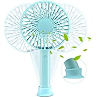 TinMiu Portable Fan Personal Handheld Fan with Removable Suction Cup Base 3 Speed USB Rechargeable Silent Design Super battery for Home,Dormitory, Office, Outdoors and Travel