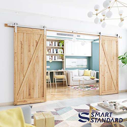 Match Custom Fit (13ft Double Door Sliding Barn Door Hardware Kit - Super Smoothly and Quietly - Simple and Easy to Install - Includes Step-by-Step Installation Instruction -Fit 30