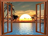 wall26 Tropical Beach Landscape with Palm Trees at Sunset View from inside a Window Removable Wall Sticker/Wall Mural - 36''x48''