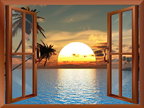 Tropical Beach Landscape with Palm Trees at Sunset View from inside a Window Removable Wall Sticker Wall Mural
