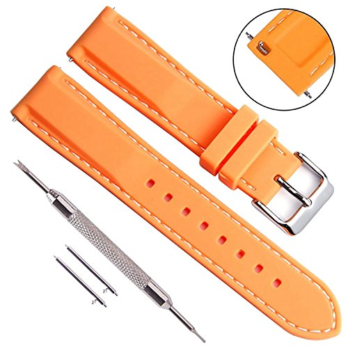 ne Replacement Watch Band Soft Rubber Watch Straps with Stainless Metal Clasp Choice of Color & Width (24mm, Orange) (Panerai Rubber Band)