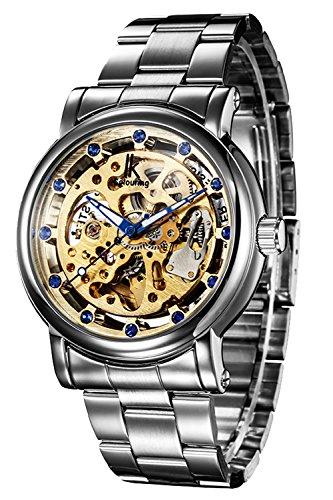 Erbida Automatic Mens Watch-Steampunk Stainless Steel Skeleton Watch for Men-Valentine Birthday Gifts