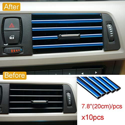Royalfox 10pc Chrome PVC Car Air Conditioner Vent Outlet Trim Decoration Strip for Dodge,Jeep,Chrysler,BMW,Mercedes-Benz,Chevrolet,Buick,Volvo,Ford,Cadillac,Car Shiny Accessories for Women (Blue)