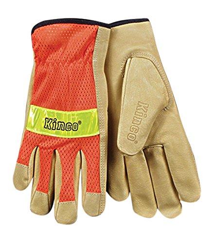 - KINCO 909-L Men's Unlined Grain Pigskin Mesh Back Gloves, Safety, Large, Orange