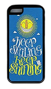 iPhone 5C Case, Personalized Protective Rubber Soft TPU Black Edge Case for iphone 5C - Keep Smile Cover