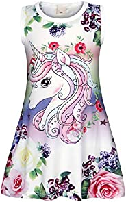 Cotrio Girls Unicorn Short Sleeve Nightgown Sleepwear Night Party Dress Pajamas