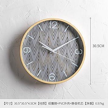 VINILLALIGHT Reloj De Pared Cuadro De La Pared del Reloj Nordic Sala De Estar Dormitorio Creativo Pared Hogar Reloj De Cuarzo Reloj De Pared 12 Pulgadas A: ...