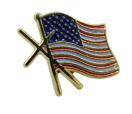 Gold Tone and Enameled American Flag Cross Believer Lapel Pin, 1/2 Inch -